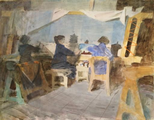 "Korovin Y. ""In the workshop tapestries."""