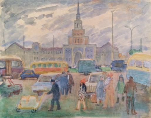 "Korovina A. P. ""The area in front of the Kazansky railway station in Moscow"""