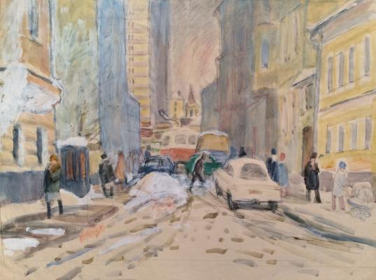 Коровина Антонина Павловна. Москва. Зима в городе.