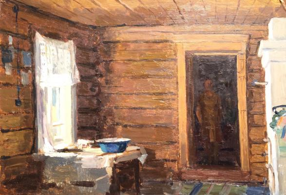 "Sysoyev N. A. ""The interior of a rustic hut."""