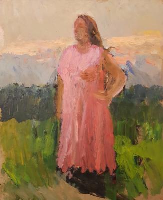 Шурпин Федор Саввич. Этюд. Девушка в розовом платье.