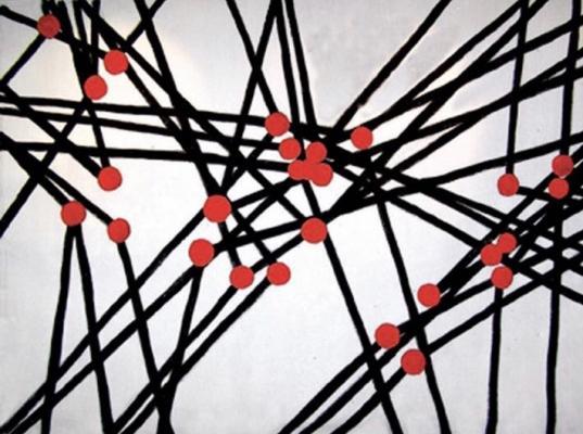 Голицына Клара Николаевна. Композиция с чёрными линиями и красными точками