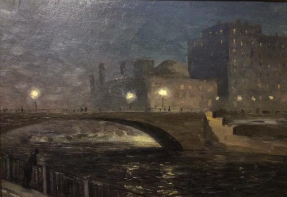 Озеров Георгий Федорович. Набережная ночью