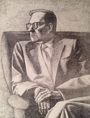"Bachurin Y. V. ""Portrait of composer Dmitri Shostakovich."""