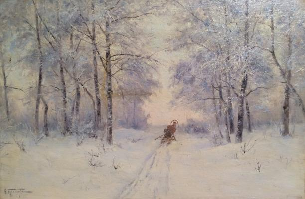"Burkhardt F. K. ""Winter road in the forest."""