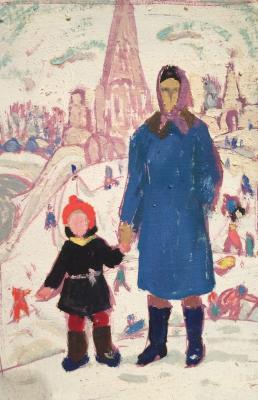 "Kuznetsov Y. M. ""With Mom for a walk."""