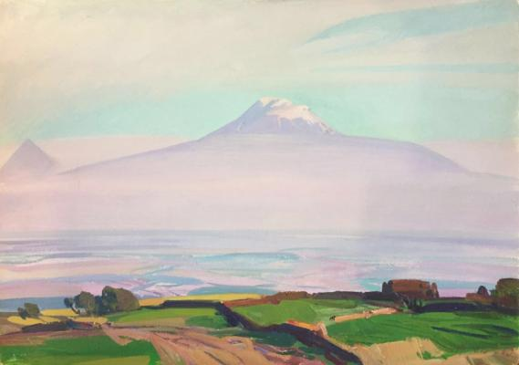 "Khandzhyan G. S. ""View from Mount Ararat Aragats. Near the village of Byurakan."""