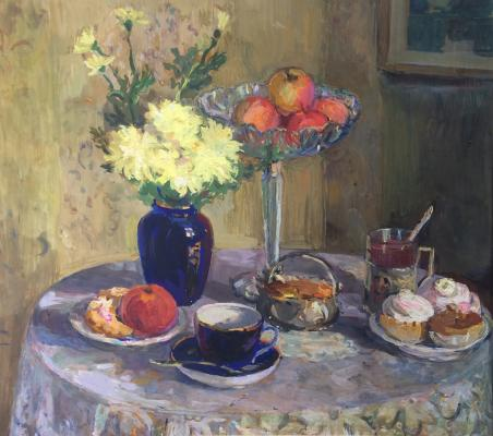 "Gippius N. A. ""Still life with yellow flowers and cakes."""