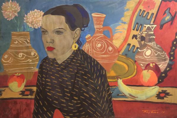 "Barvenko V. P. ""Female image in the background of the Dagestani Interior."""