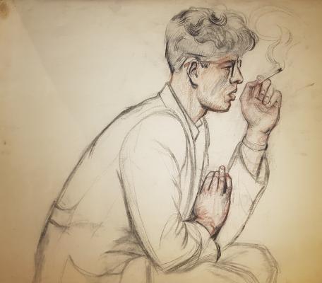 Барвенко Виктор Петрович. Портрет мужчины с сигаретой