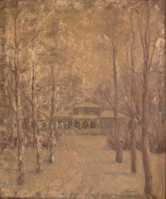 "Glinka V. N. ""Novospasskoye. Winter landscape with the estate."""