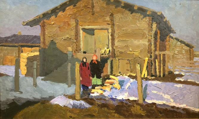 """Stozharov V. F. """"Girls near the house."""""""