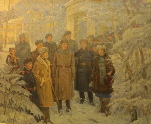 "Sakhanov A. I. ""Soldiers in the Lenin hills."""