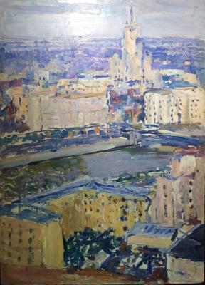 "Sakhanov A. I. ""Moscow. View of the skyscraper on Kotelnicheskaya Embankment."""
