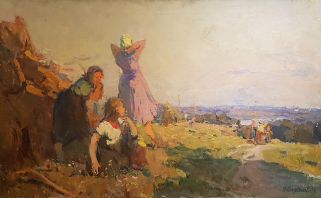 Саханов Александр Иванович. Уборка сена