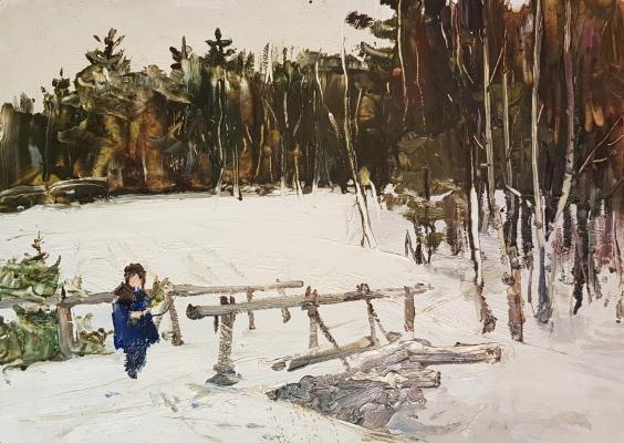 Саханов Александр Иванович. Зима. У мостика