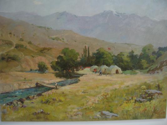 "Karakhan N. G. ""Camp in the mountains. Chimgan. Brichmulla."""