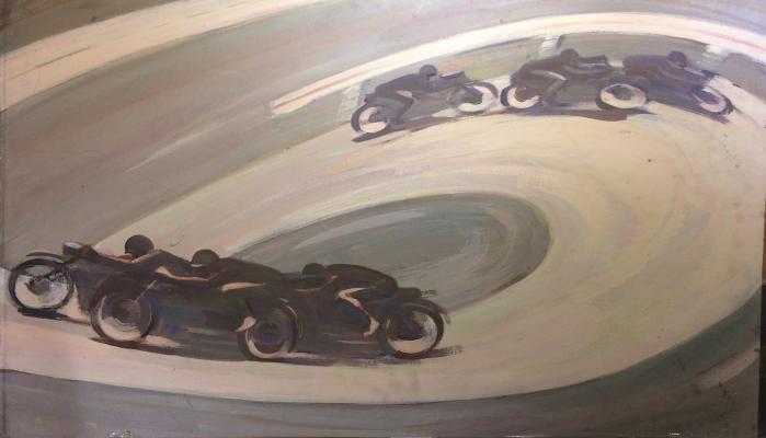 "Shcherbinin ""Moscow. Motor racers. Ring race."""