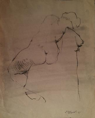 "Strulev Y. ""Seated Nude from the back"""