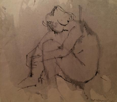 "Strulev Y. ""He sits hugging her knees"""