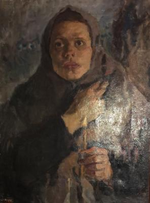 "Sergeyev N. S. ""Girl with candles."""