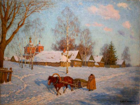 "Lednev-Shchukin S. Y. ""March in the village."""