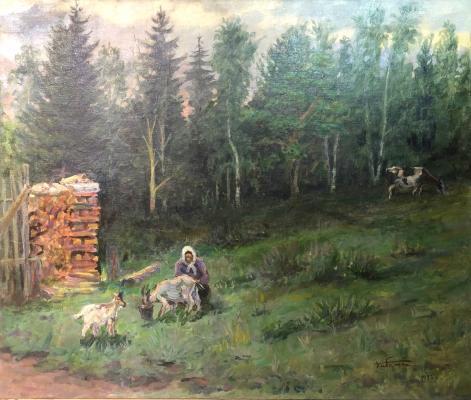 Кибардин Георгий Владимирович. Кормит коз