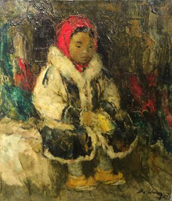 "Igoshev V. A. ""The girl Khanty in a red kerchief."""