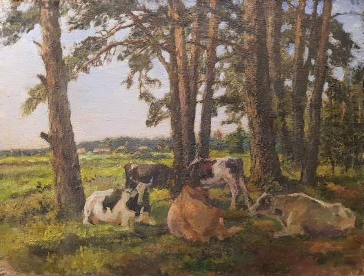Ванециан Арам Врамшапу. Коровы отдыхают в тени деревьев