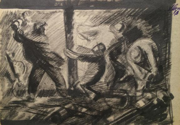 "Khvostenko  ""Miners in the pit coal mine."""