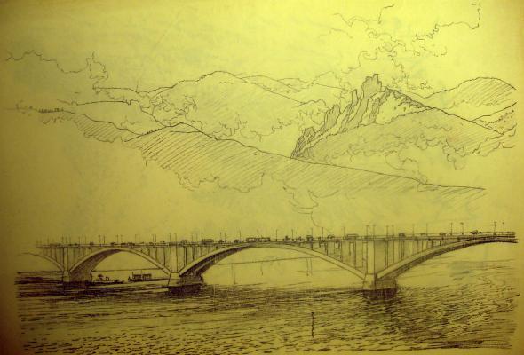 """Vaneyev """"Bridge in Krasnoyarsk."""""""