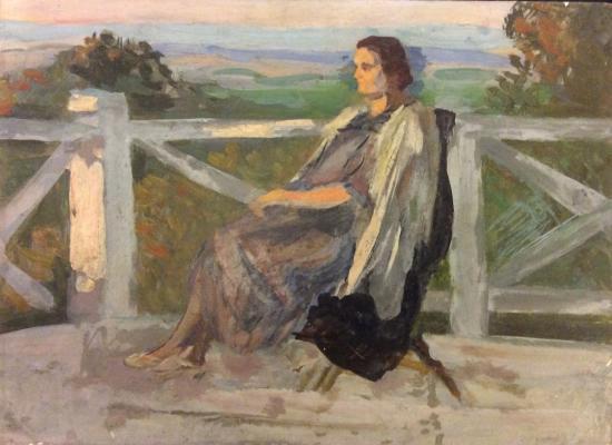 Герасимов Сергей Васильевич. На террасе. Портрет жены