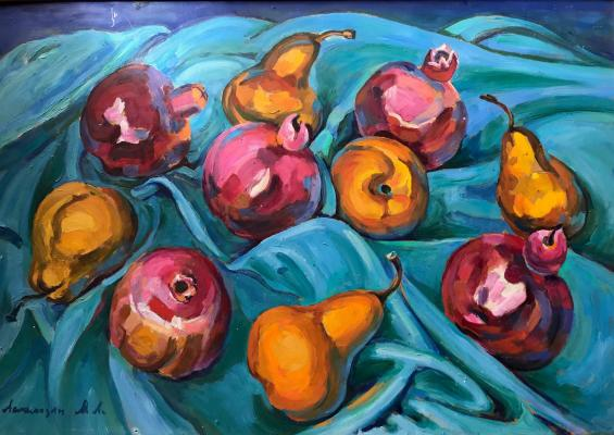"Aslamazyan M. A. ""Pears and pomegranates on blue"""