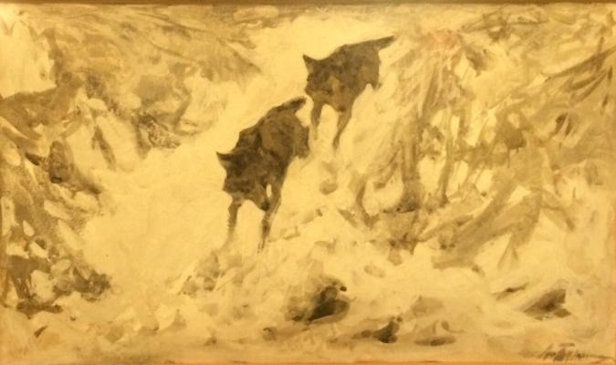 "Turzhansky L. V. ""Wolves in the snowy forest"""
