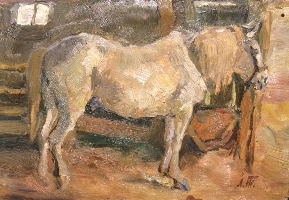 """Turzhansky L. V. """"White horse in a stall"""""""