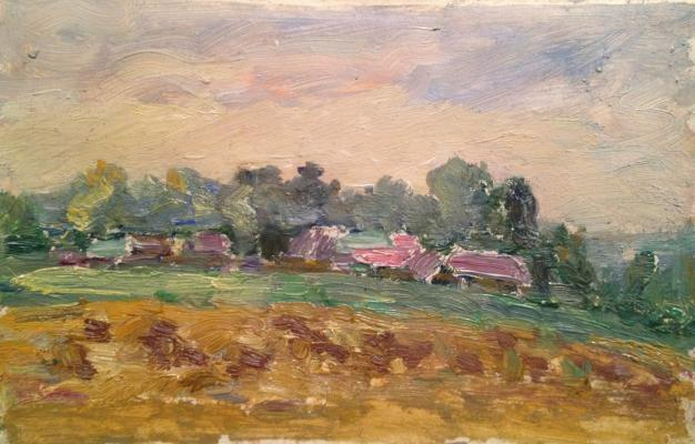"Udaltsova N. A. ""Landscape with pink roofs."""
