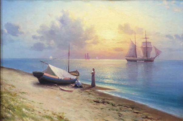 Капустин Григорий Иванович. Морской пейзаж с парусниками и лодкой на берегу