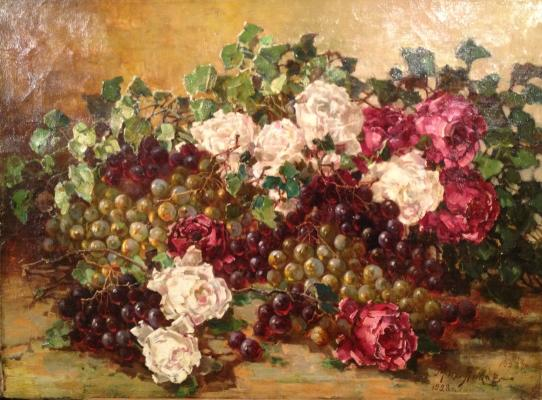 "Yankov M. D. ""Still life with roses and grapes."""