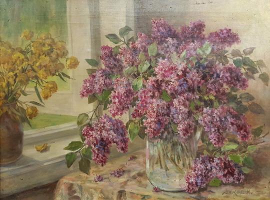 Янков Михаил Дмитриевич. Натюрморт с сиренью у окна
