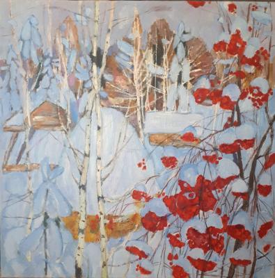 Кокурин Валерий Григорьевич. Зимний пейзаж с рябиной