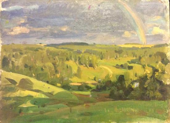 Толкунов Николай Павлович. Лес после дождя. Радуга.