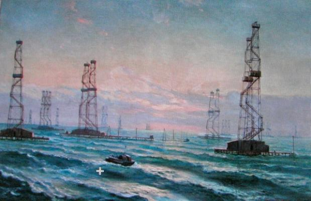 "Lvov Y. A. ""Oil rigs in the Caspian Sea."""