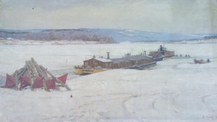 "Osenev N. I. ""Winter on the Oka River"""