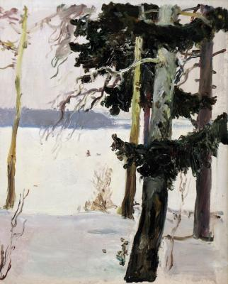 "Nissky G. G. ""Winter landscape with pine trees."""
