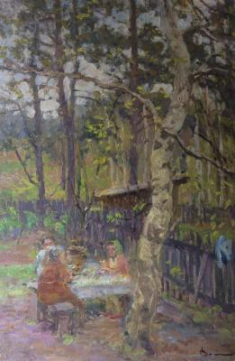 "Vladimir Alekseyevich Vasin ""Tea at the cottage."""