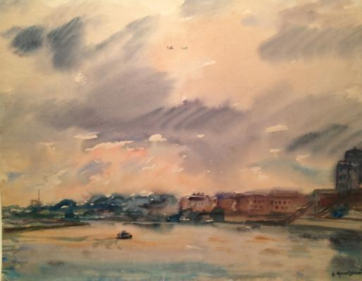 "Mogilevsky A. P. ""Moscow River. The evening after the storm."""