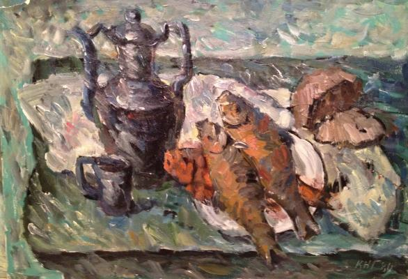 "Krayushkin N. G. ""Still life with fish and bread"""