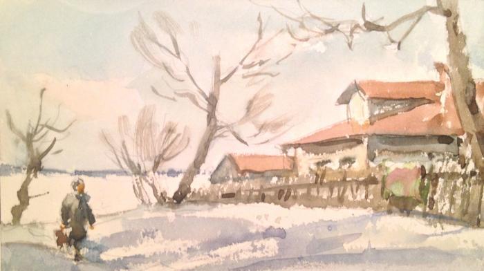 """Krylov P. N. """"Winter day in the village."""""""