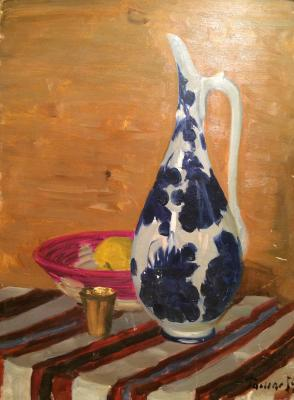 "Romas Y. D. ""Still Life with Jug."""