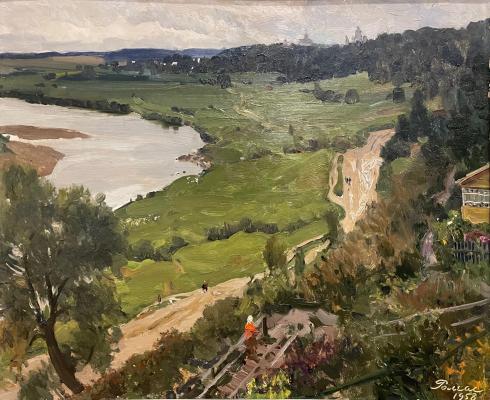 Ромас Яков Дорофеевич. Вид на реку и проселочную дорогу.